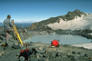 Scientists at Mt Ruapehu's crater lake <br/> Image source http://www.usgs.gov
